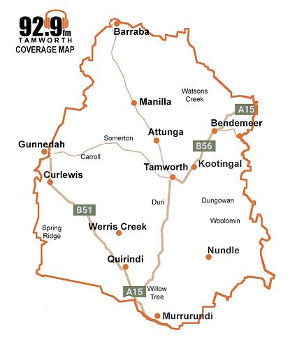 92.9fm Tamworth Coverage Map