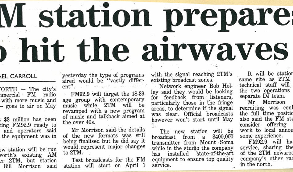 Tamworth's first commercial FM station prepares to hit the airwaves | NDL - 5th May 1993