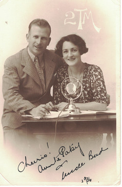 Aunty Patsy and Uncle Bud postcard - 1936