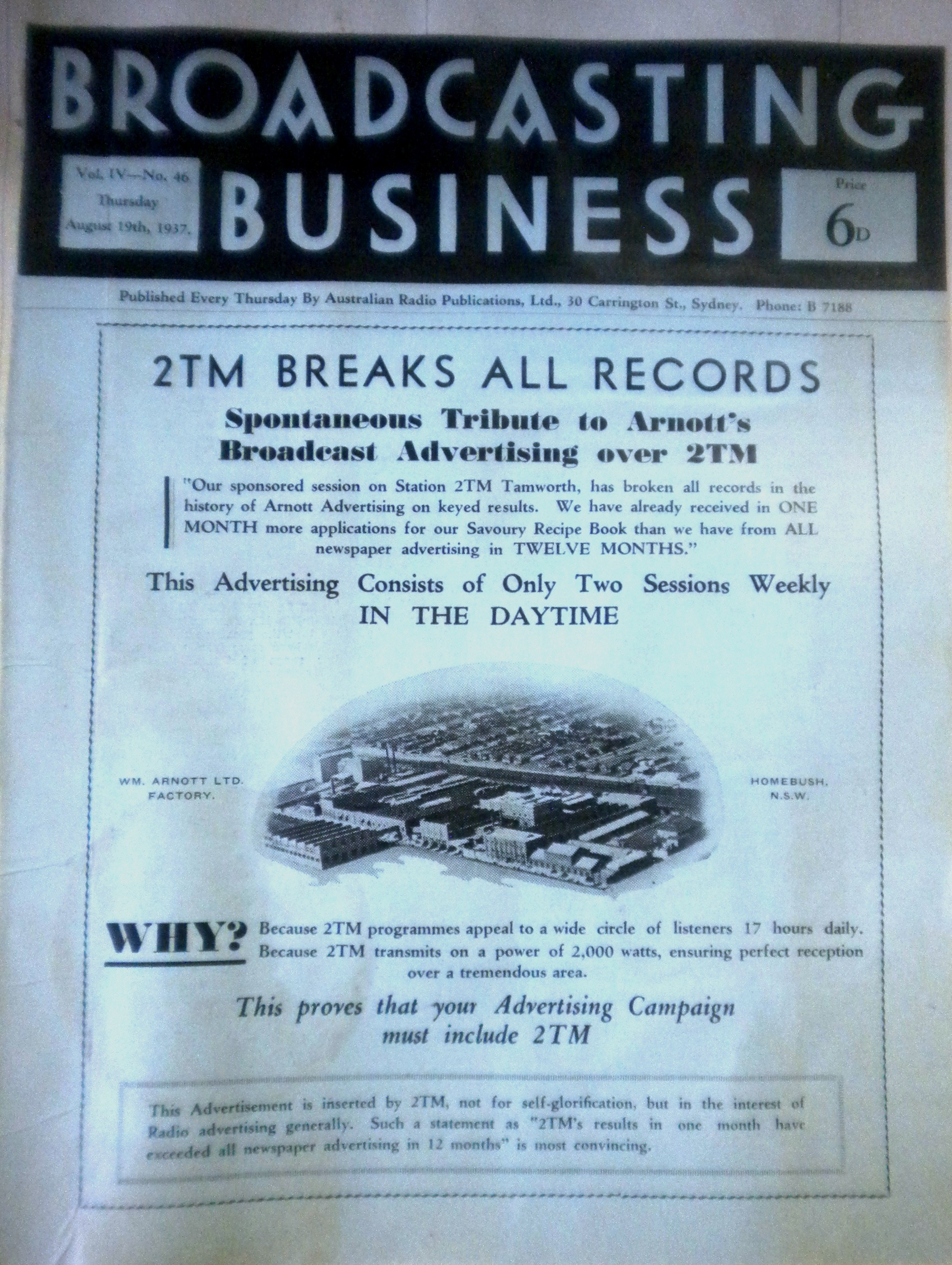 2TM Breaks all records with Arnotts in 1937