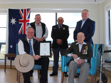 103-year-old Quirindi resident Cyril Barwick recognised for his service to Australia