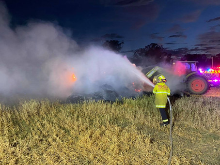 Westdale haystack catches alight as fire ban remains and temperatures continue to soar