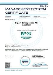 Dipart Entreprenad, BF9K certifikat 2019