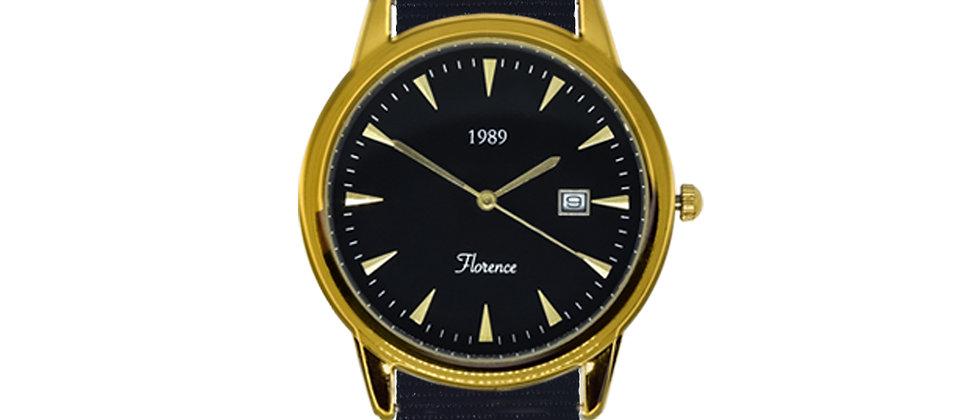 Florence Gold Frame Black Dial Pitch Black Nylon