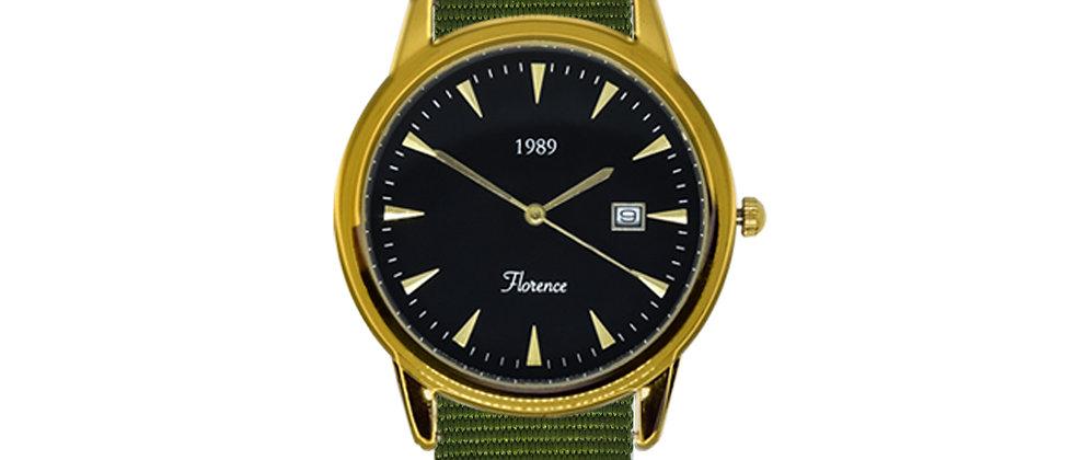 Florence Gold Frame Black Dial Clover Green Nylon