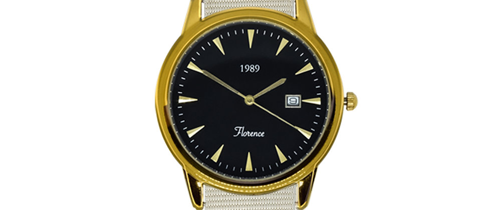 Florence Gold Frame Black Dial Snow White Nylon