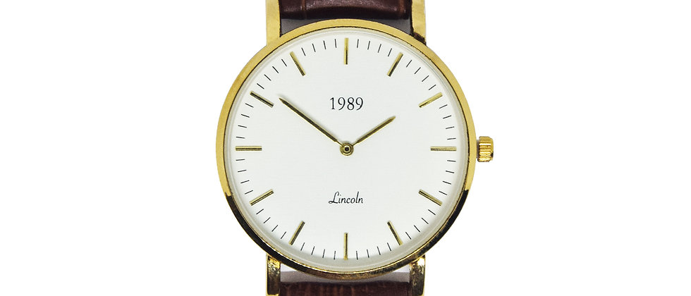 Lincoln - Gold - Brown leather