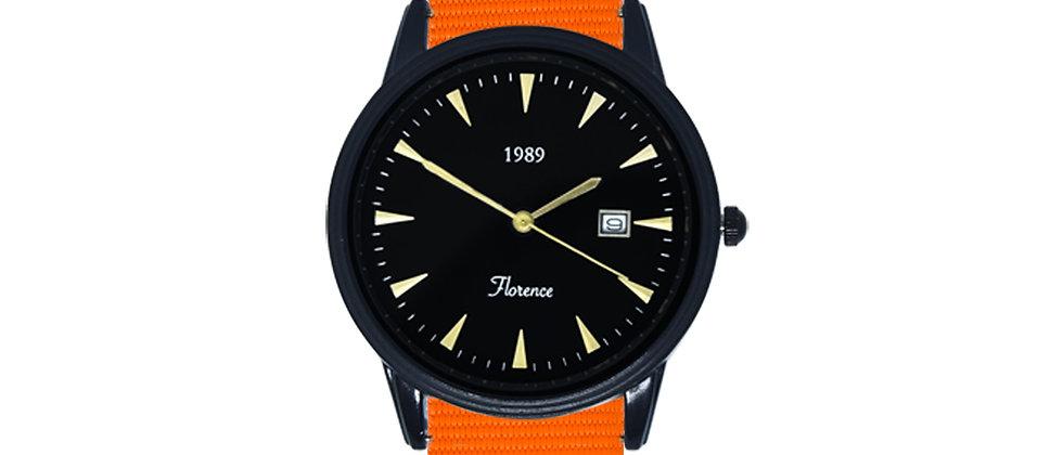 Florence Black Frame Black Dial Tangerine Orange Nylon