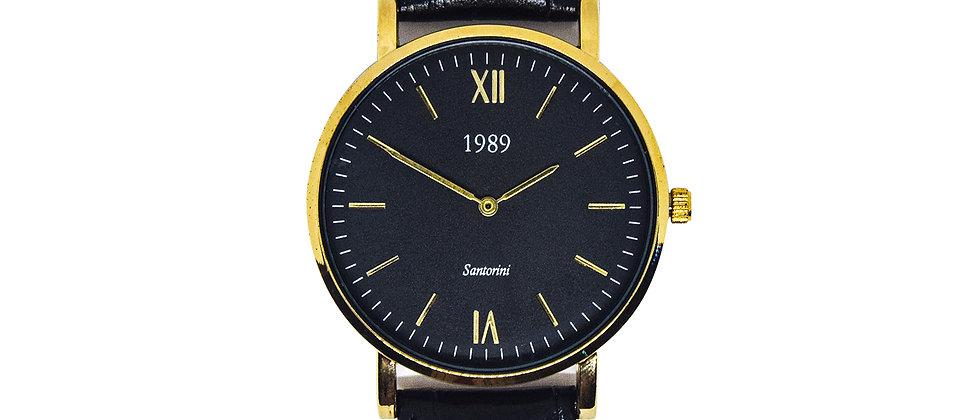 Santorini - Gold - Black leather