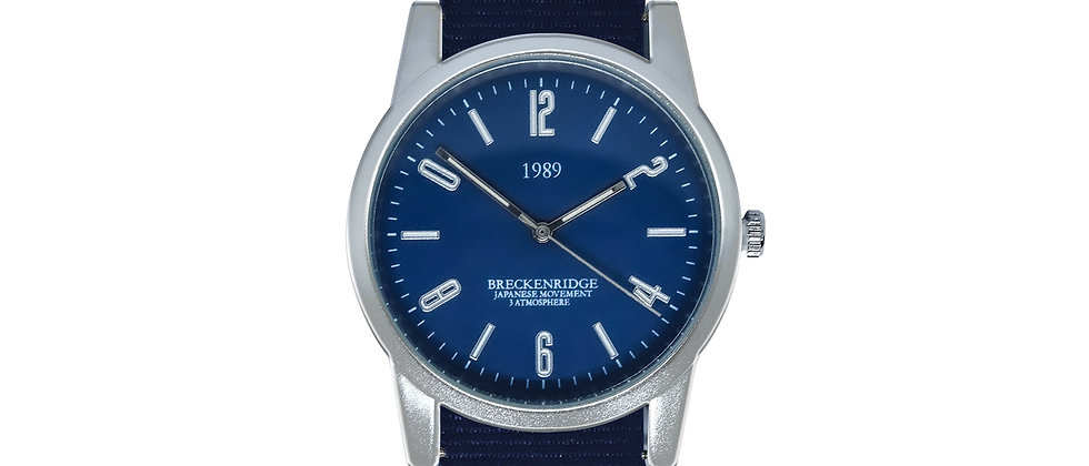Breckenridge Frosted Silver Blue Dial Royal Blue Nylon