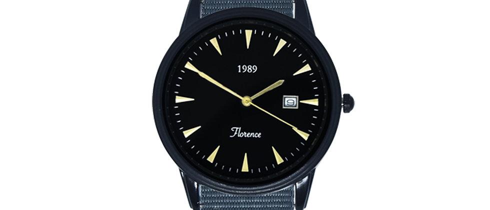 Florence Black Frame Black Dial Harbor Grey Nylon