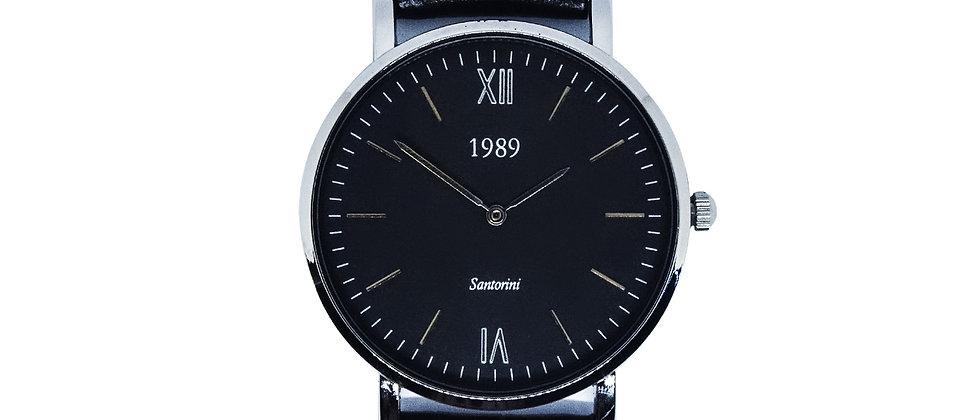 Santorini - Silver - Black leather