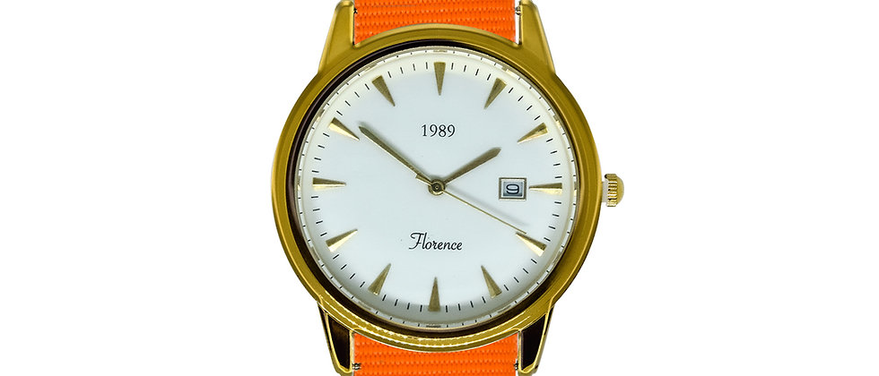 Florence Gold Frame White Dial Tangerine Orange Nylon