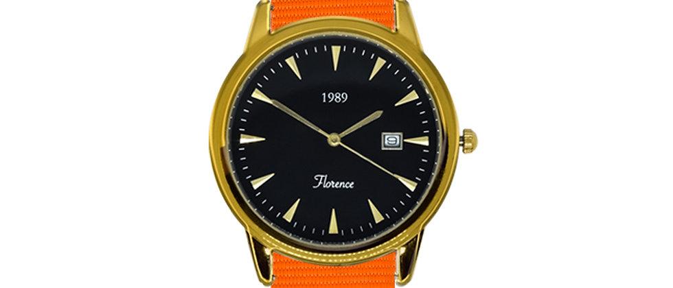 Florence Gold Frame Black Dial Tangerine Orange Nylon