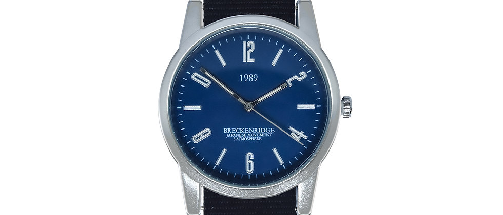 Breckenridge Frosted Silver Blue Dial Pitch Black Nylon