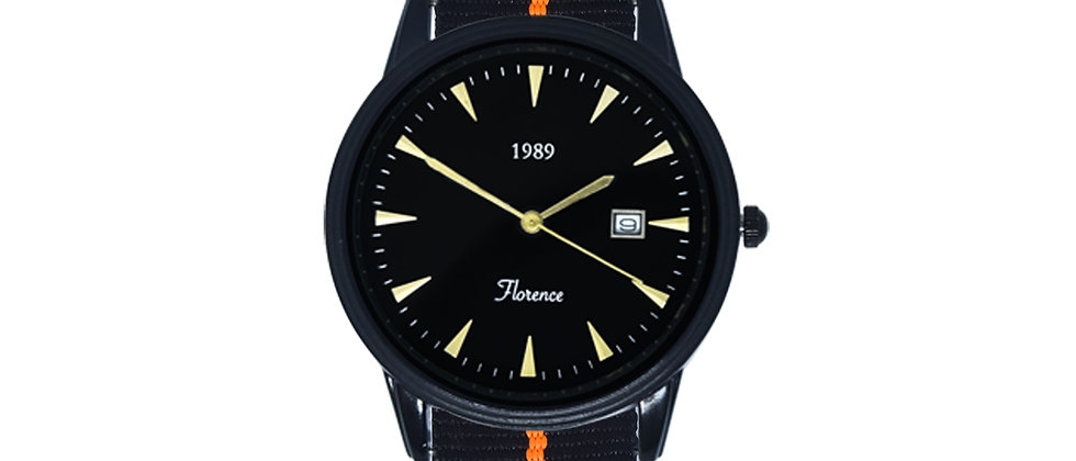 Florence Black Frame Black Dial Tiger Ink Black Nylon