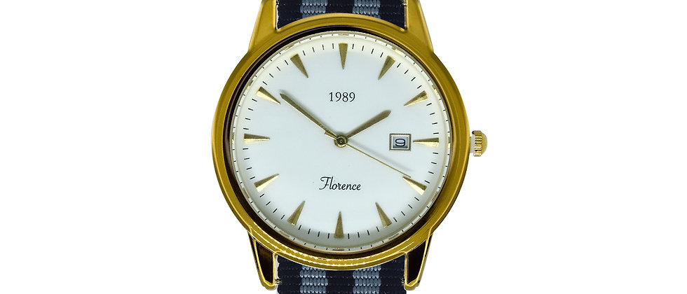 Florence Gold Frame White Dial Midnight Rhino Nylon