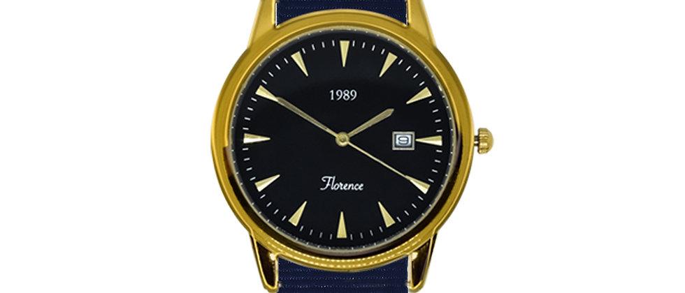 Florence Gold Frame Black Dial Royal Blue Nylon