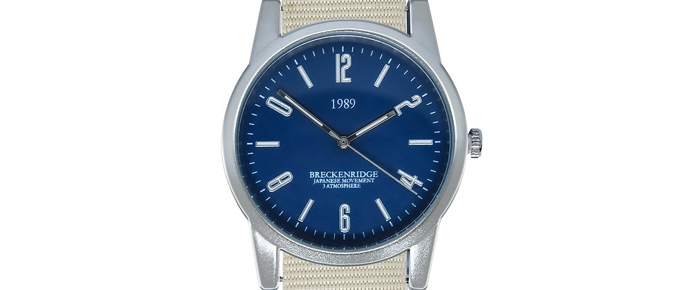 Breckenridge Frosted Silver Blue Dial Snow White Nylon