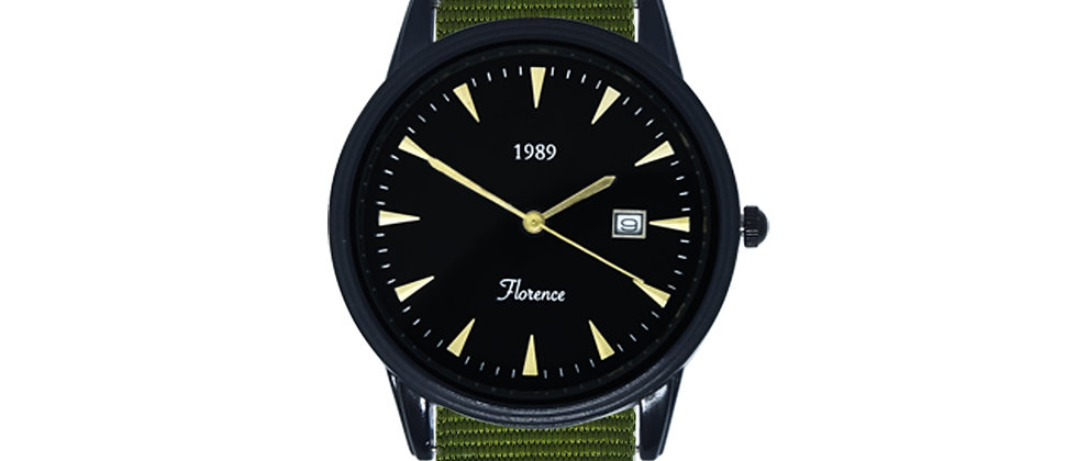 Florence Black Frame Black Dial Clover Green Nylon