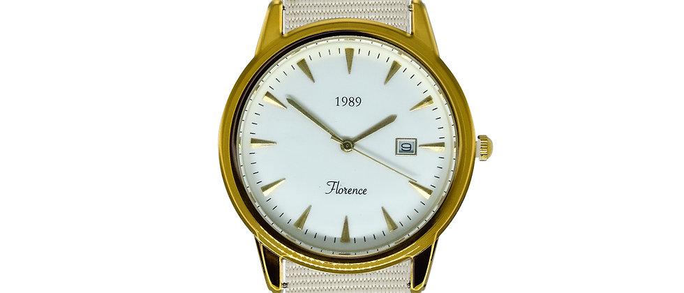 Florence Gold Frame White Dial Snow White Nylon