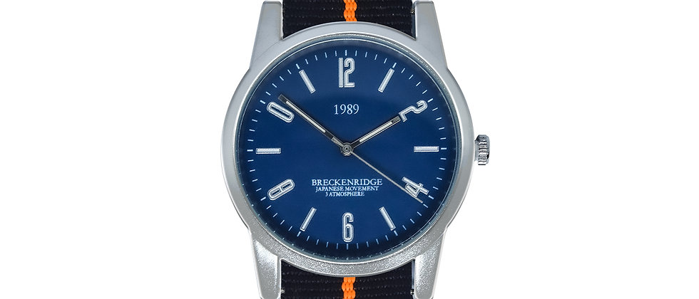 Breckenridge Frosted Silver Blue Dial Tiger Ink Black Nylon
