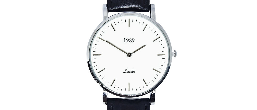 Lincoln - Silver - Black leather