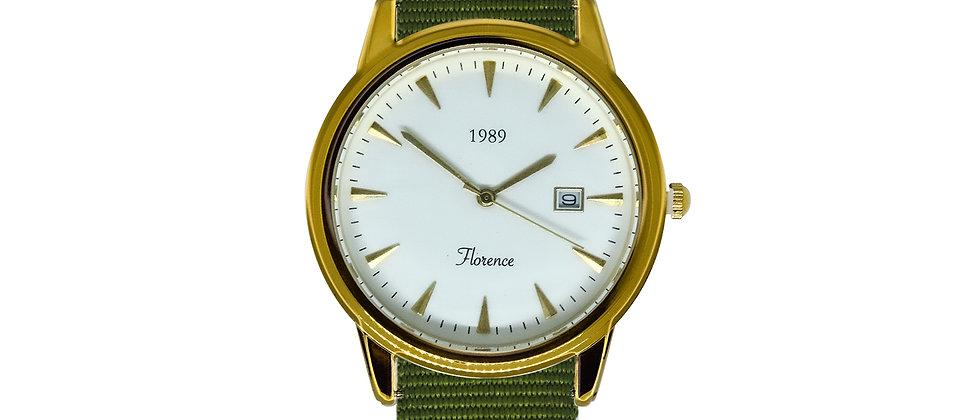 Florence Gold Frame White Dial Clover Green Nylon