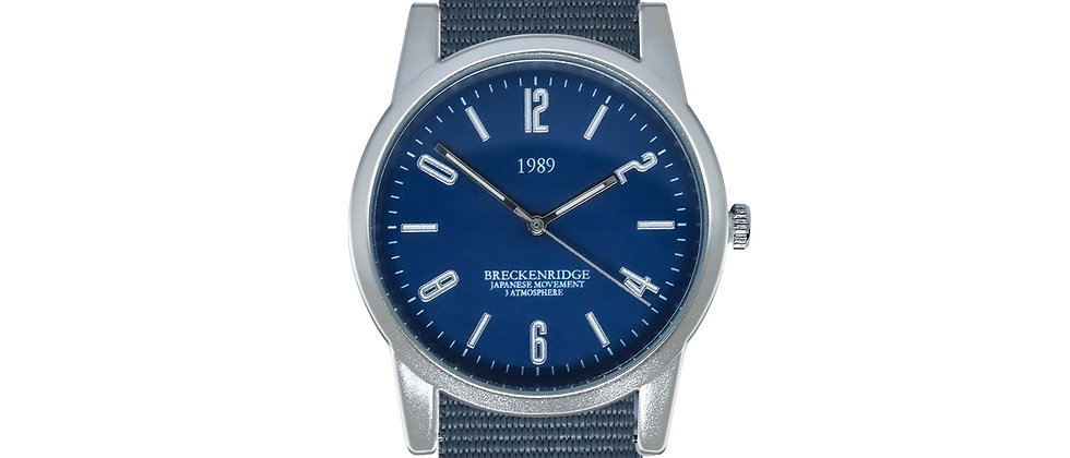 Breckenridge Frosted Silver Blue Dial Harbor Grey Nylon