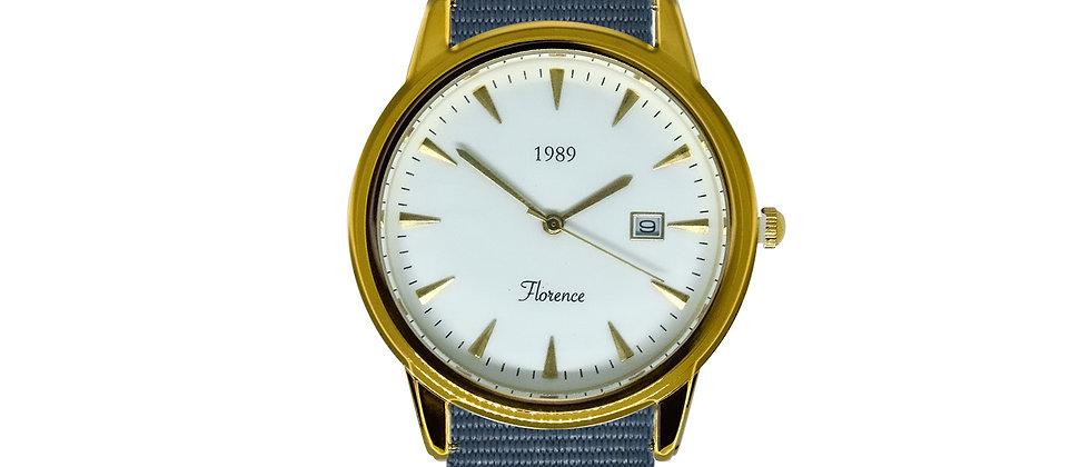Florence Gold Frame White Dial Harbor Grey Nylon