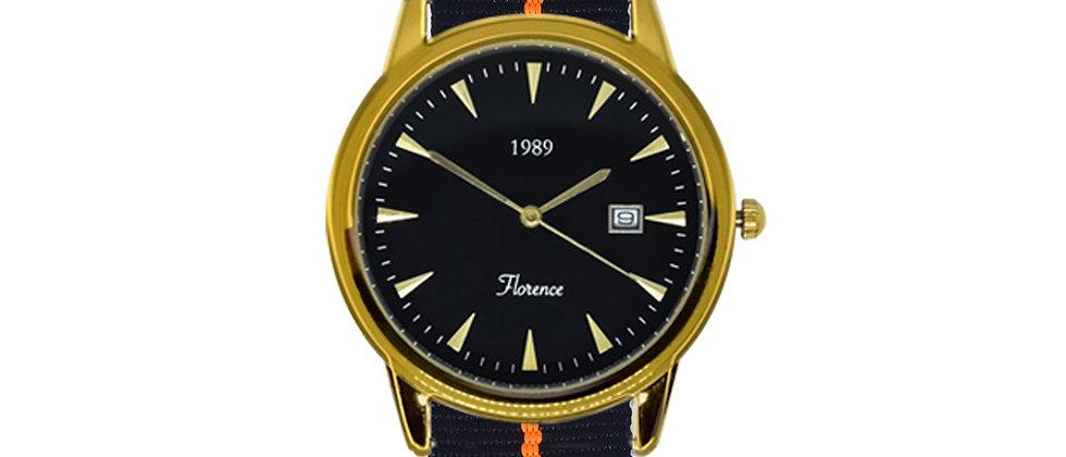 Florence Gold Frame Black Dial Tiger Ink Black Nylon