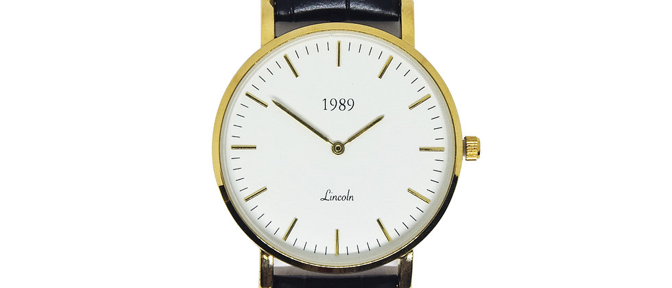 Lincoln - Gold - Black leather
