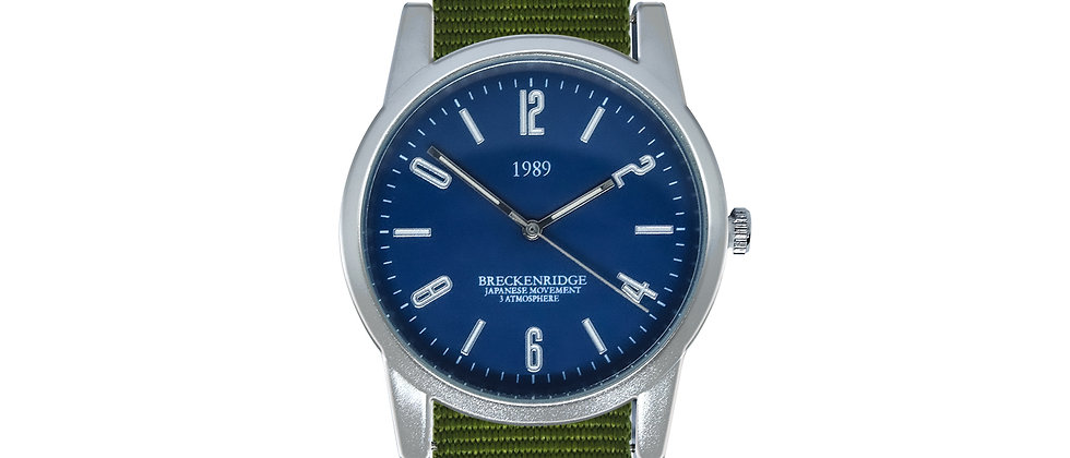 Breckenridge Frosted Silver Blue Dial Clover Green Nylon