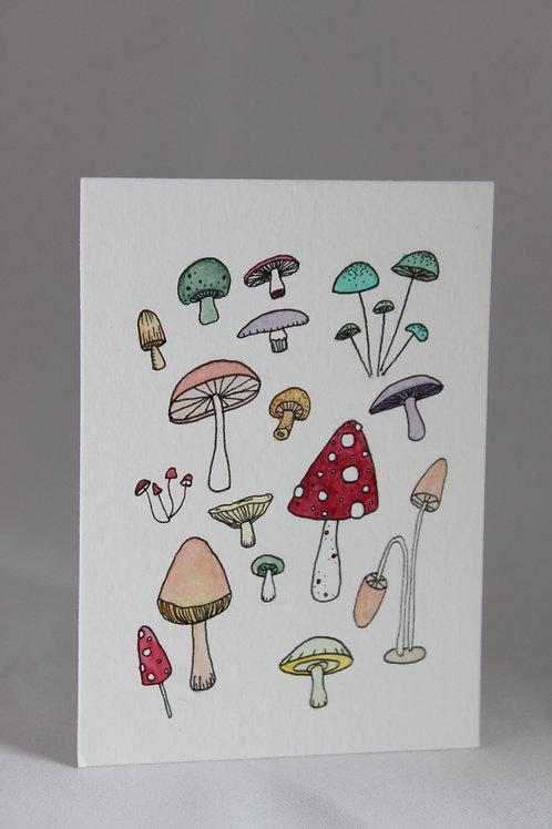mini mushroom watercolor