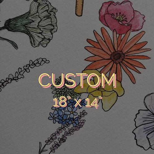 """Custom 18""""x 14"""" botanical watercolor"""