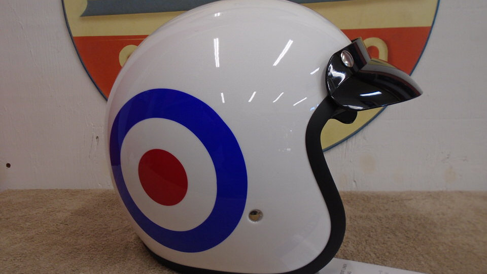 Half Face helmet with peak and  flip down sun visor [L]