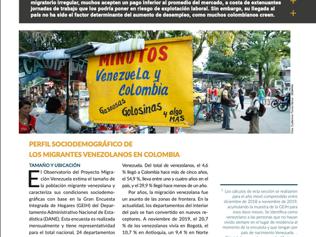 Informe del panorama laboral de los venezolanos en Colombia