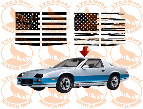 T-Tops Flag Decal - 3rd Gen Trans AM/Camaro