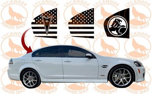 Pontiac G8 Rear Quarter Windows Flag Decals