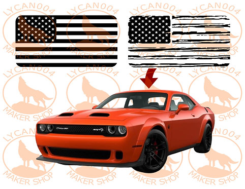 3rd Gen Dodge Challenger - Sunroof Flag Decal
