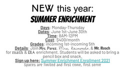 NEW this year_  Summer Enrichment