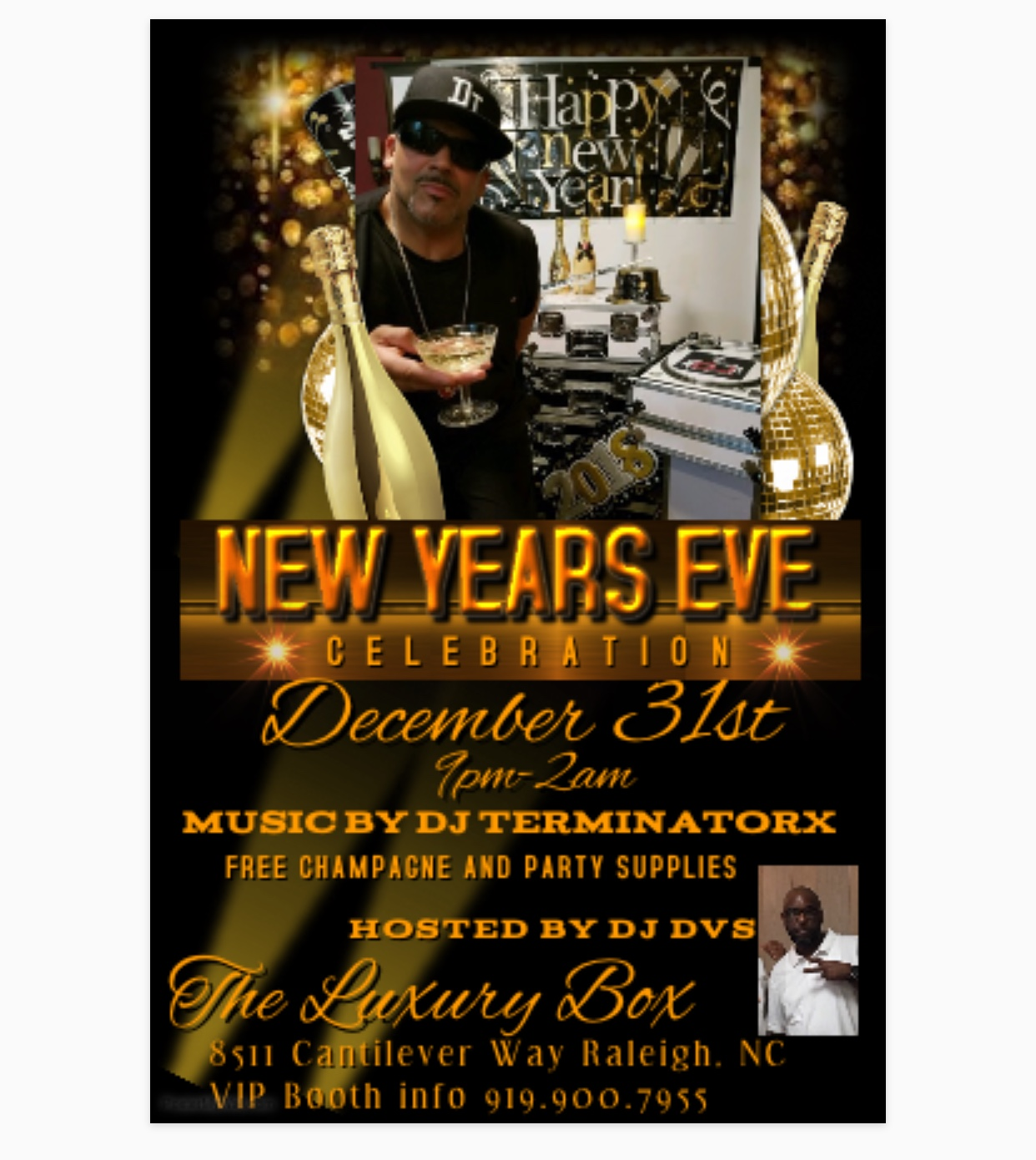 NYE 2018 flyer luxury box