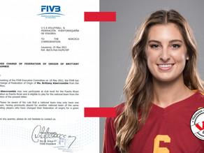 FIVB aprueba cambio de Federación para Brittany Abercrombie