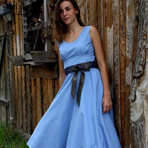 Kleid ROMY mit Schleife, himmelblau
