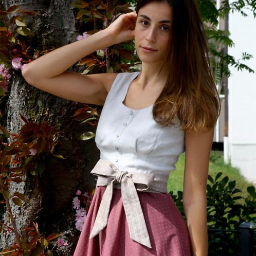 Kleid ROMY mit Schleife, kiesel/altrosé