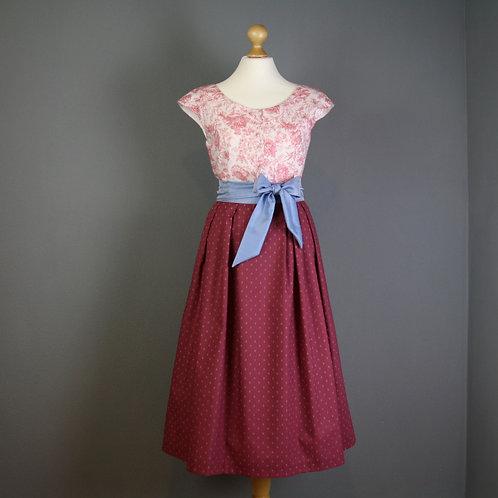 Kleid LUISE mit Schleife, himbeer