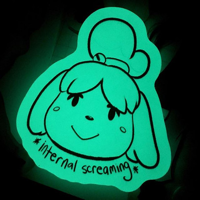 My Isabelle the Anxious Pup pins glow in