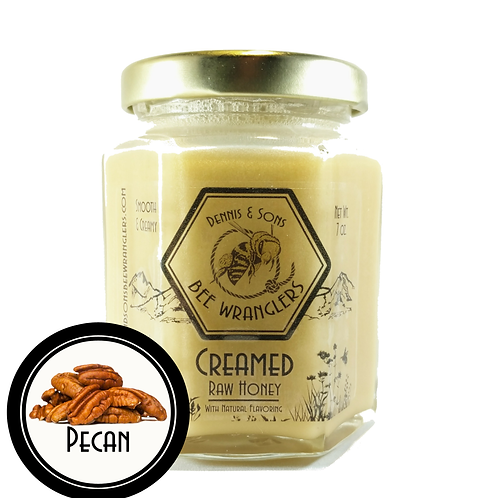 Raw Creamed Honey - Pecan Infused - 8 oz.
