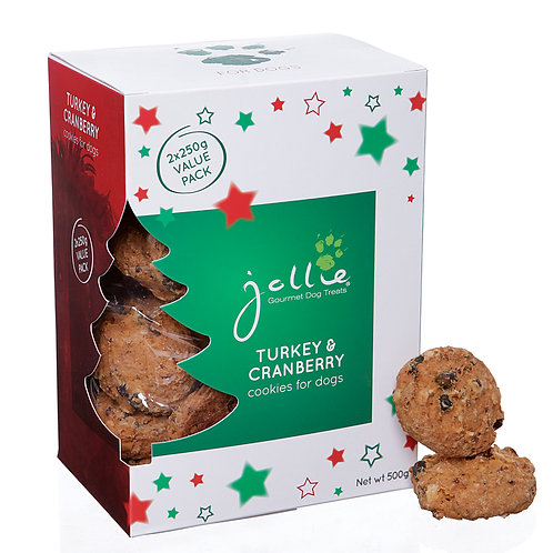 Turkey & Cranberry Cookies for Dogs 500G Gift Box