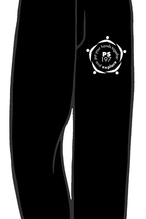 Sweatpants with school logo on left hip